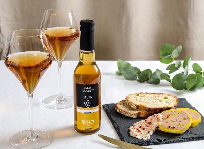 Jus de cépage Sémillon BIO Didier GOUBET et foie gras