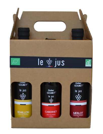 Coffret cadeau 6 petits JUS de cépages BIO didier goubet jus de raisin de cepage bio semillon cabernet merlot