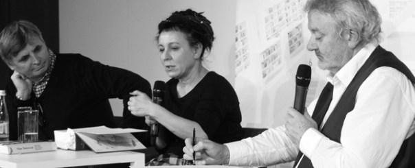 Olga Tokarczuk während einer Lesung in der StaBi Foto: © M. Seehoff