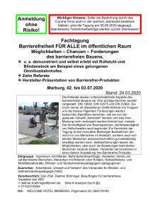 Cover Flyer Fachtagung Barrierefreiheit im öffentlichen Raum und in öffentlichen Gebäuden im Juli 2020 in Marburg