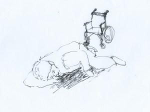 Ein Rollstuhlsturz wegen 1 - 2 cm hoher Tuerschwelle kann schwere Gesundheitsschäden nach sich ziehen - die Nullschwellen-Petition sorgt für Lösungen