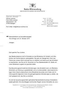 Die Absage vor dem großen Nullschwellen-Durchbruch_die 2. Antwort vom Ministerium für Verkehr und Infrastruktur vom 14.11.14