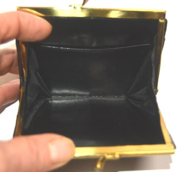 Geldbörse Portemonnaie Portefeuille Damenbörse schwarz glänzend