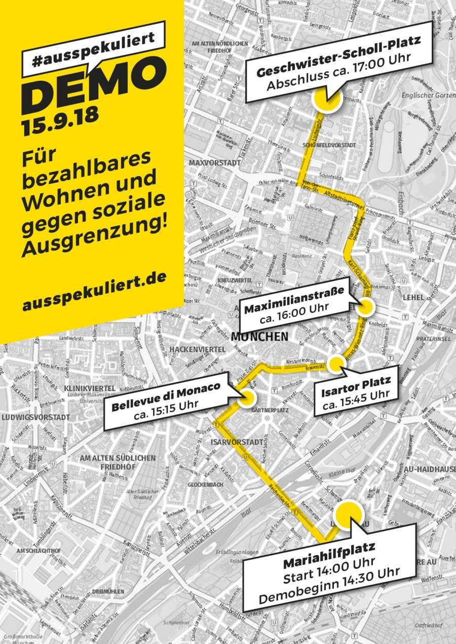 #ausspekuliert - Laufroute - Demo München