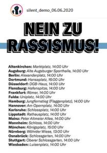 Silent Demo 6.6.2020 - Ort und Zeit - #blacklivesmatter