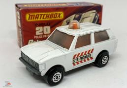 Matchbox Superfast No.20b Range Rover Police Patrol - white body with Site Engineer door labels, clear frosted windows, orange spinner and roof light, bare metal base, Maltese Cross wheels - Excellent Plus in Good Plus type J box.