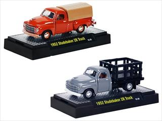 Detroit Cruiser 1952 Studebaker 2R 2 Trucks Set WITH CASES 1/64 Diecast Models by M2 Machines