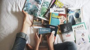 reading papers and magazines
