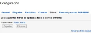 Filtro nueva clasificacion gmail