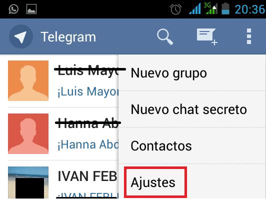 Telegram. Desactivar las notificaciones de nuevo usuario