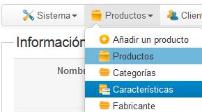 menu productos caracteristicas