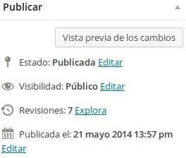 Wordpress publicar revisiones