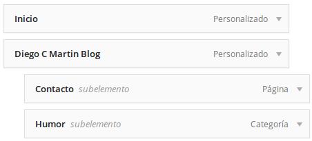 ejemplo submenú WordPress