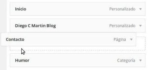 ejemplo de reordenación de menú en WordPress