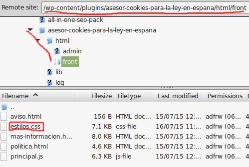 ubicacion estilos asesor cookies normativa española wordpress