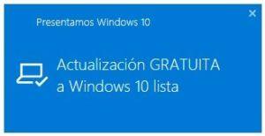 Actualizacion gratuita a Windows 10