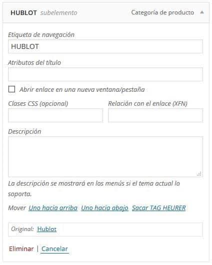 editar elemento de menú WordPress