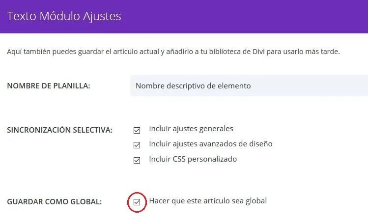 Guardar elemento global en la biblioteca del constructor Divi para WordPress