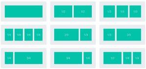 combinaciones de columnas para insertar en filas Divi builder