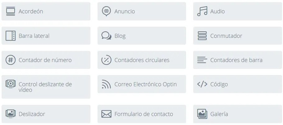 modulos disponibles en divi builder para WordPress