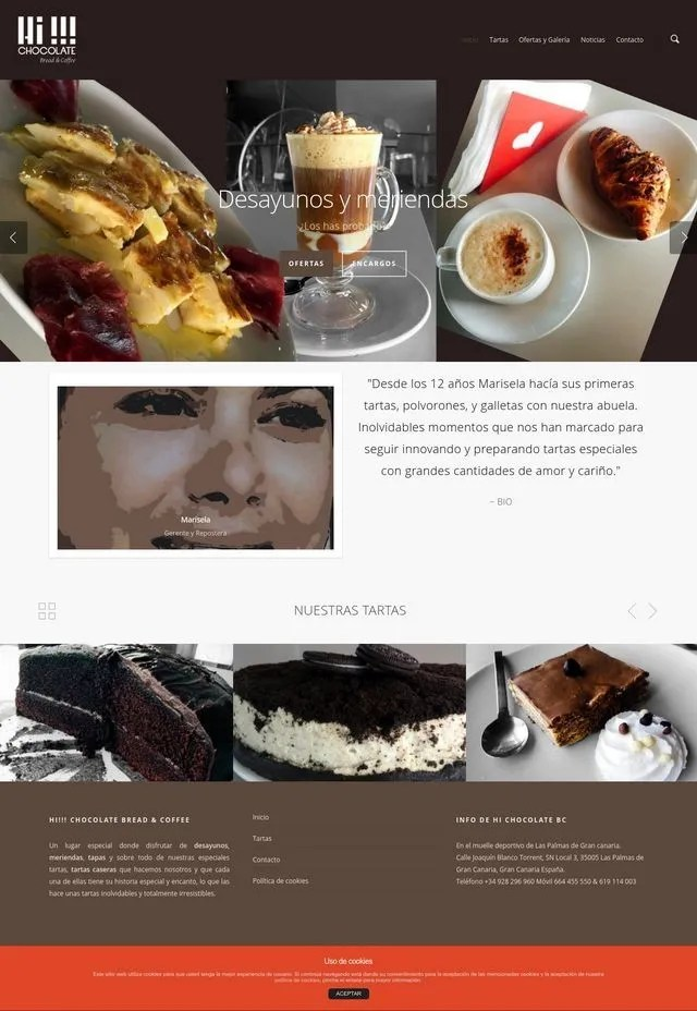 captura de la web hichocolatelaspalmas.com