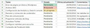 vista previa de la plantilla excel seguimiento de tareas web