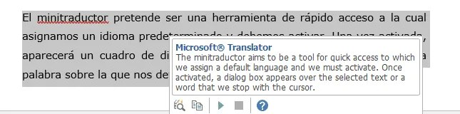 Minitraductor de MS Office en Word