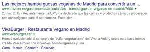 primeros resultados orgánicos SERP hamburguesa vegetariana madrid en Google