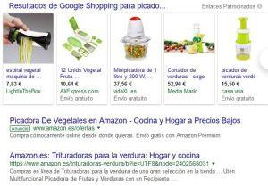 primeros resultados SERP picadora de verduras en Google