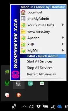 Icono de Wamp server en el área de notificación de Windows 10