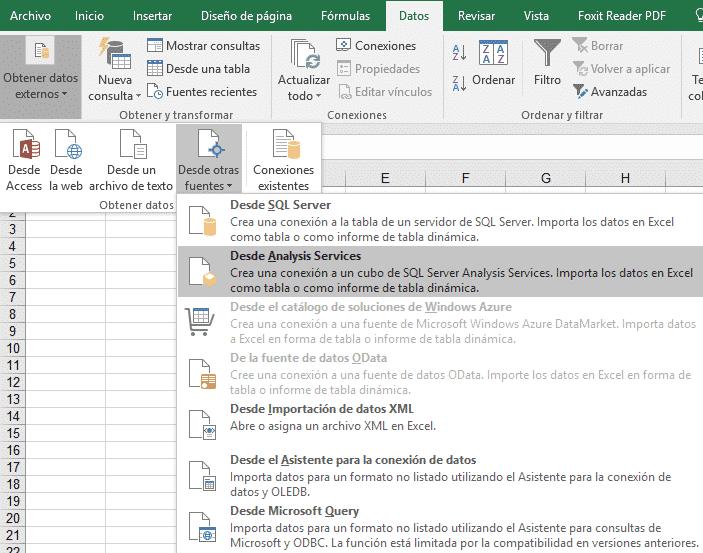 Conectar fuentes de datos en Excel