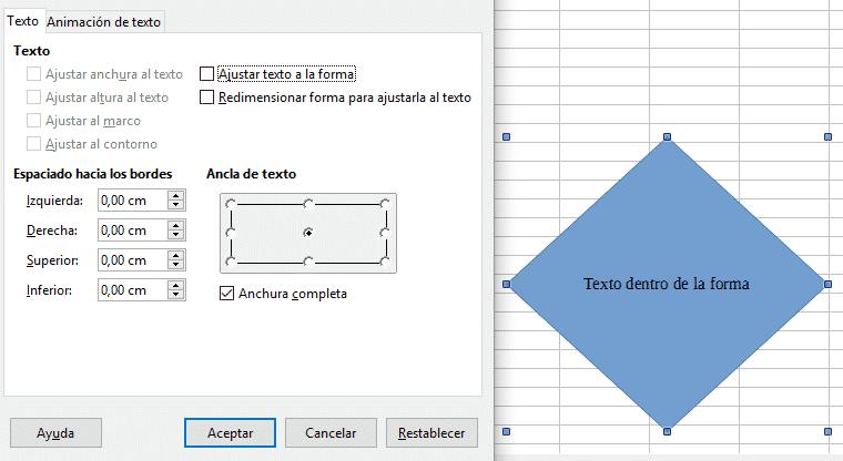 Insertar texto dentro de una forma en Libre Office