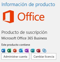 Información de producto y versión Office 365