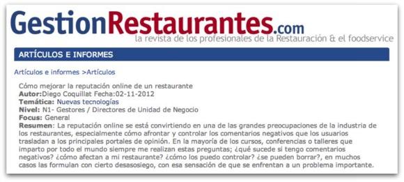 Comentarios online de restaurantes en redes sociales