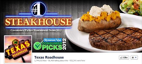 Texas Roadhouse restaurante en redes sociales