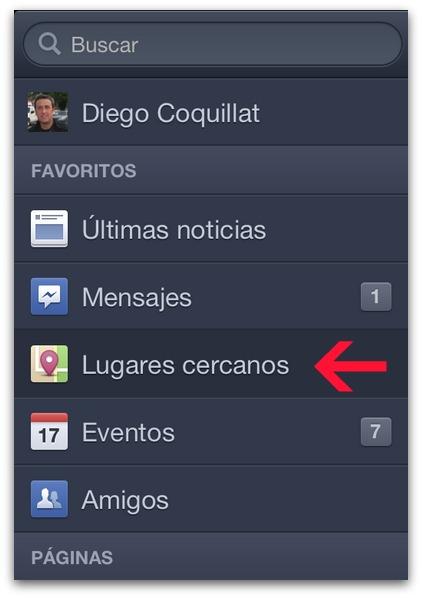 Lugares cercanos en Facebook