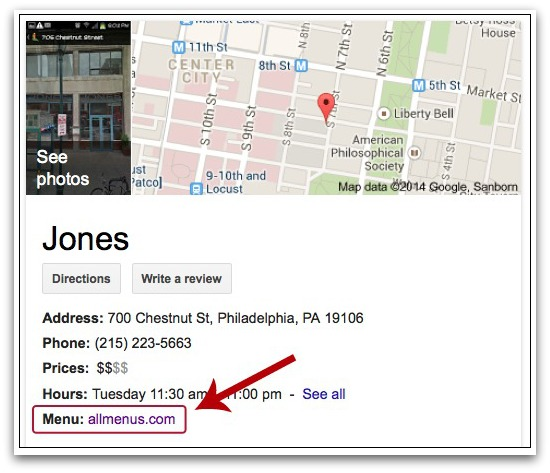 Google may show in search results cards and restaurant menus