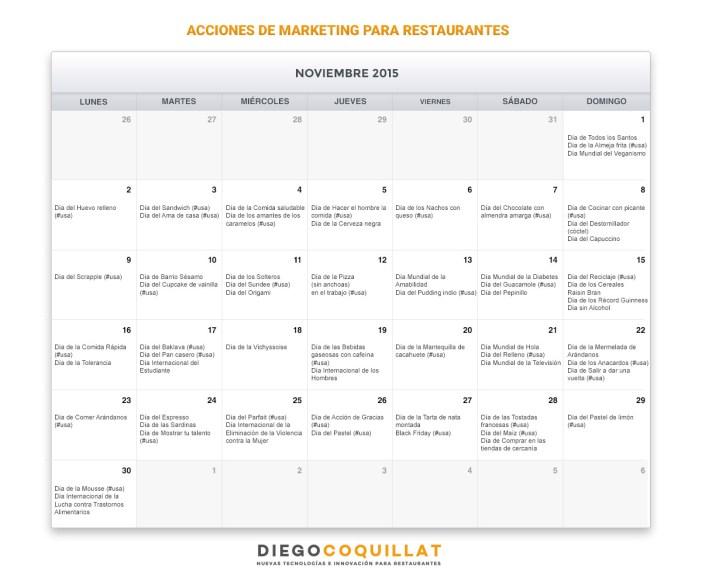 Novembre activités de marketing de calendrier pour les restaurants