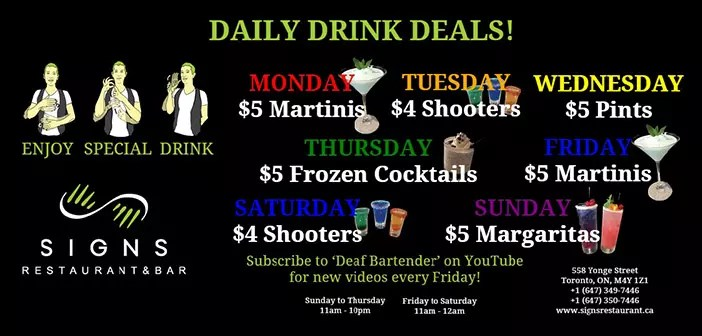 Signs restaurant daily deals