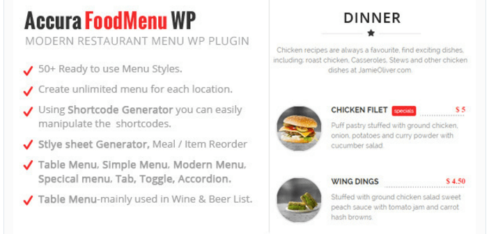 Accura Menu alimentaire WP