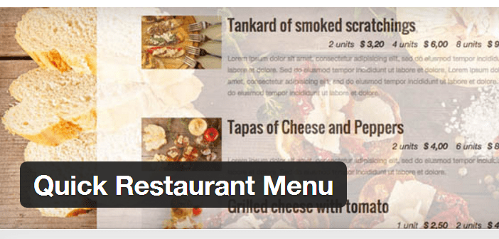 Menu Restaurant rapide Plugin