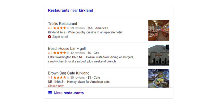 Current version local search Google for restaurants