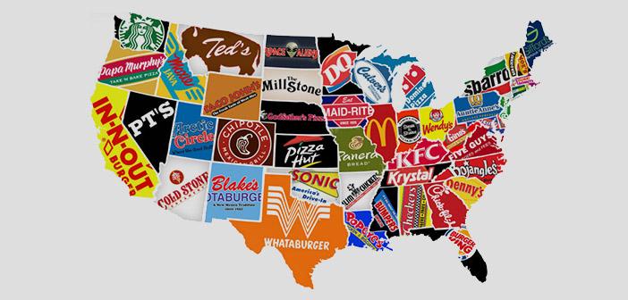 Mapa de fast-food a USA