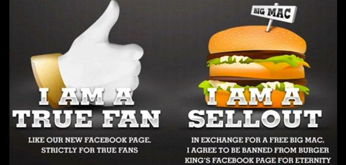 Campaña de Burguer King que consistía en elegir entre seguir siendo fan de la página o comer una hamburguesa de la competencia