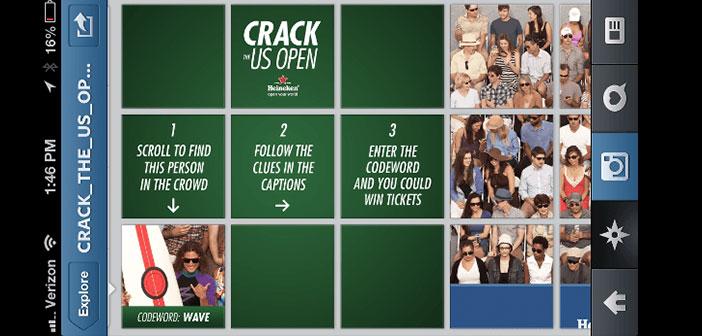 Concours via Instagram sous le nom Crack the US Open,