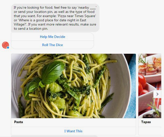 Un chatbot que te va proponiendo restaurantes o comidas en base a tus preguntas.