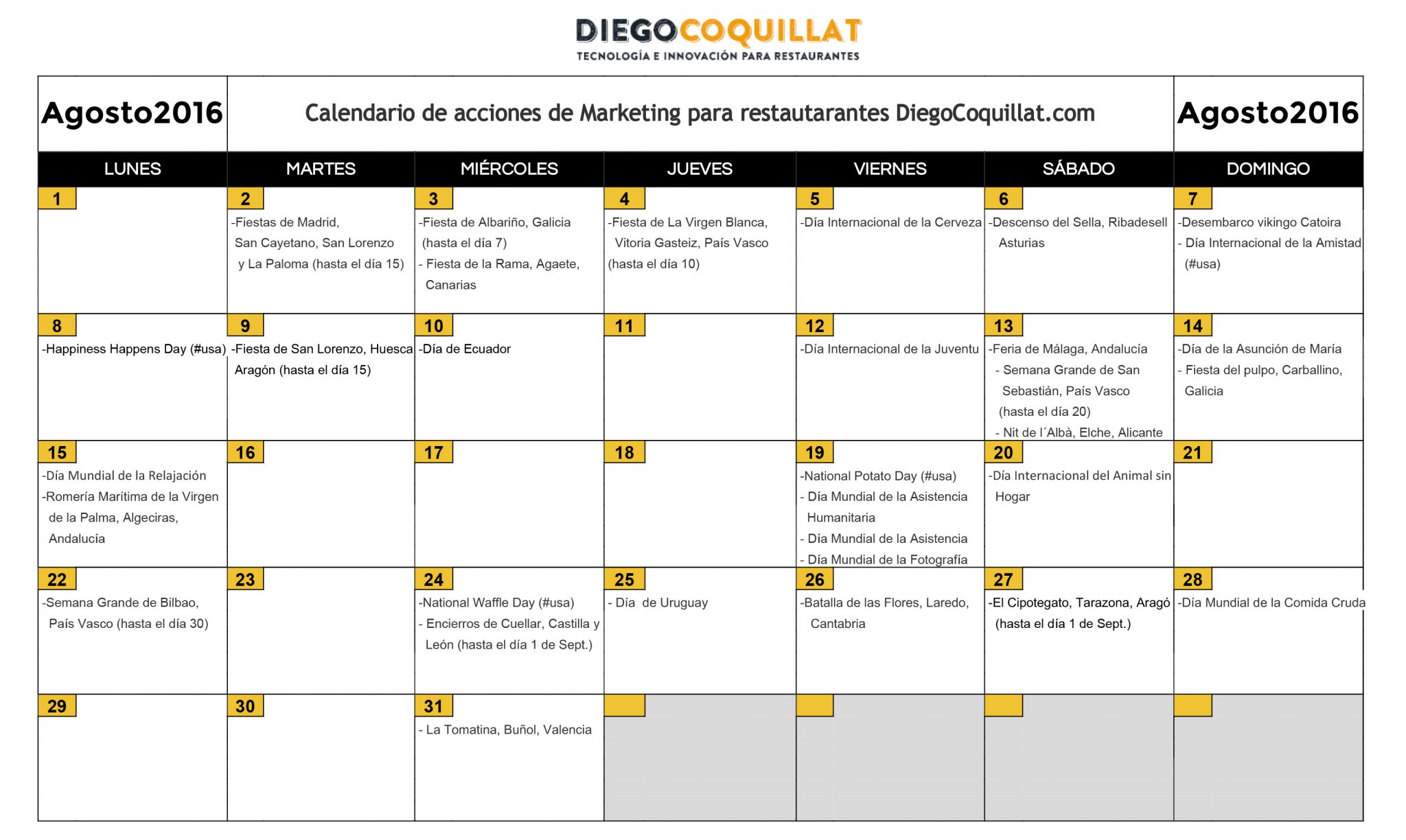 Calendario Grande.August 2016 Marketing Activities Calendar For Restaurants