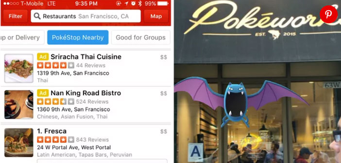 Yelp, one of the largest portals in the world of restaurant recommendations included in the filter search criteria to find restaurants that are near a PokéStop.