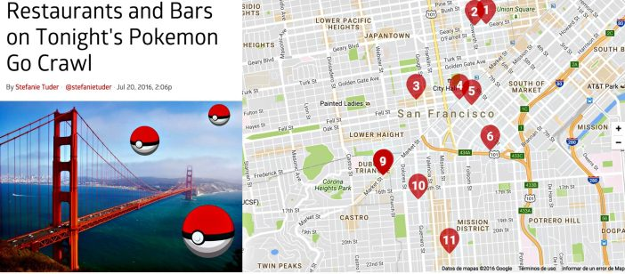 Bars et restaurants participant à Hangouts Pokemon GO