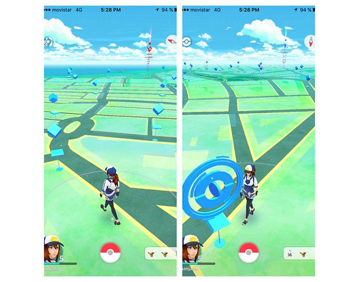 Les PokéParadas ont une couleur bleutée avec des cercles différents où de nombreux objets sont Pokémons.